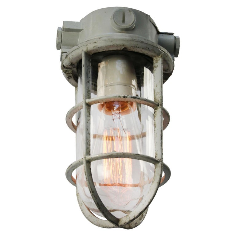 Cast Gray Vintage Industrial Clear Glass Pendant Lights For Sale