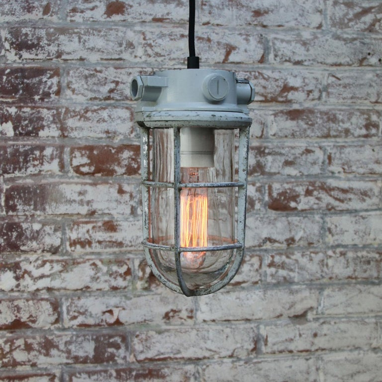 Gray Vintage Industrial Clear Glass Pendant Lights In Good Condition For Sale In Amsterdam, NL