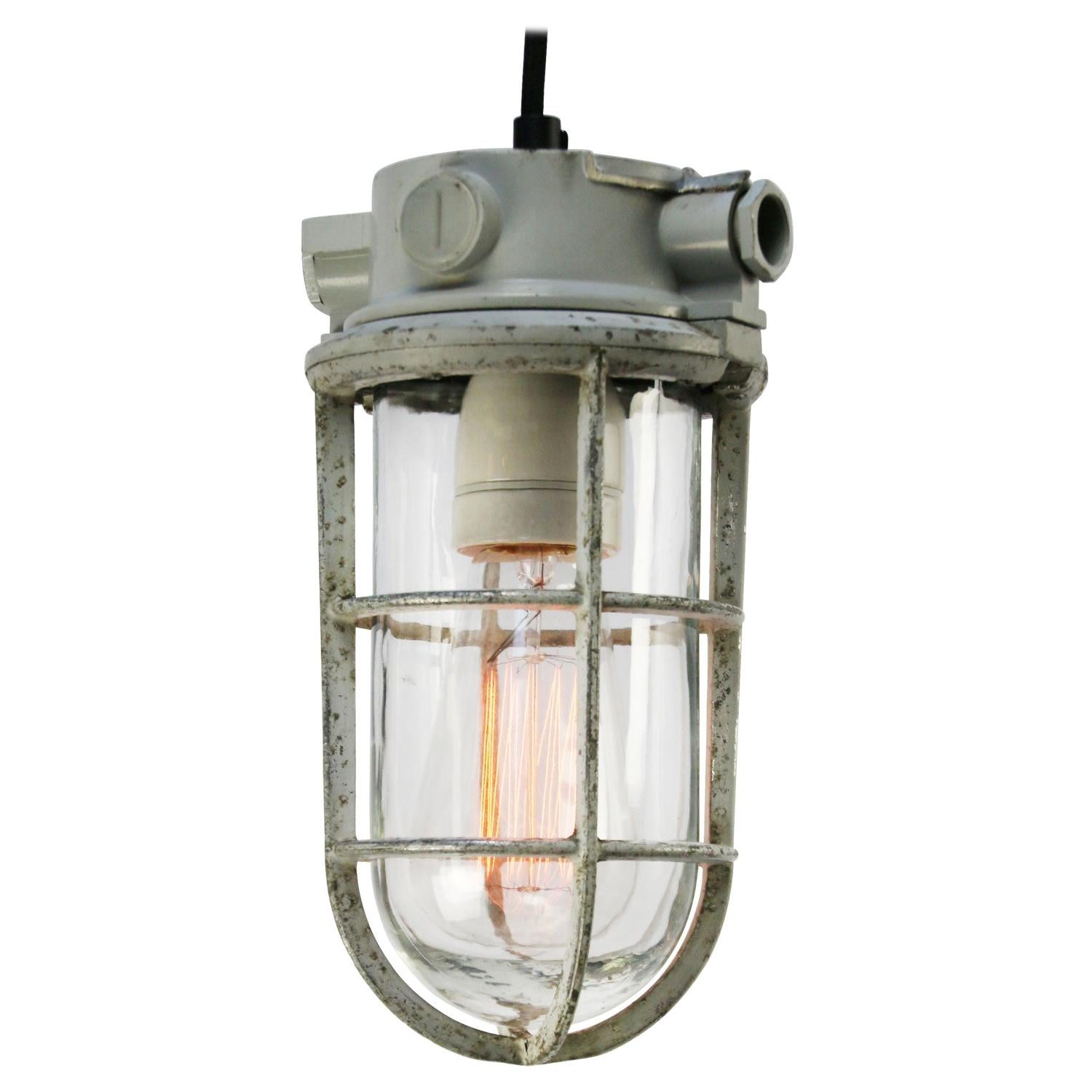 Gray Vintage Industrial Clear Glass Pendant Lights