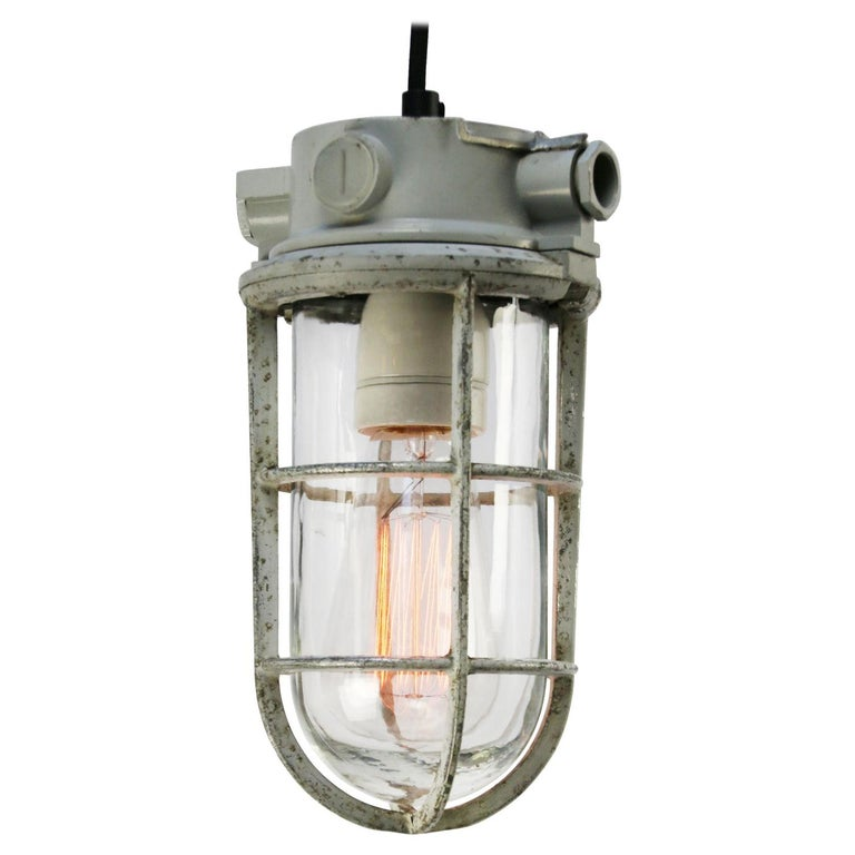 Gray Vintage Industrial Clear Glass Pendant Lights For Sale