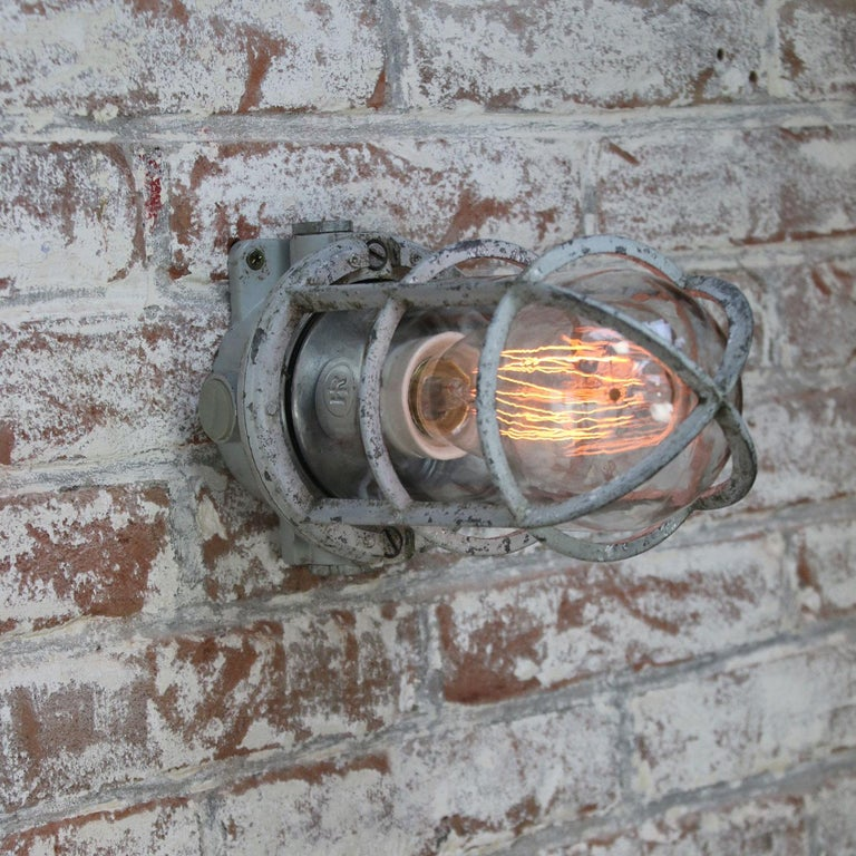 Dutch Gray Vintage Industrial Clear Glass Wall Lamp Scones