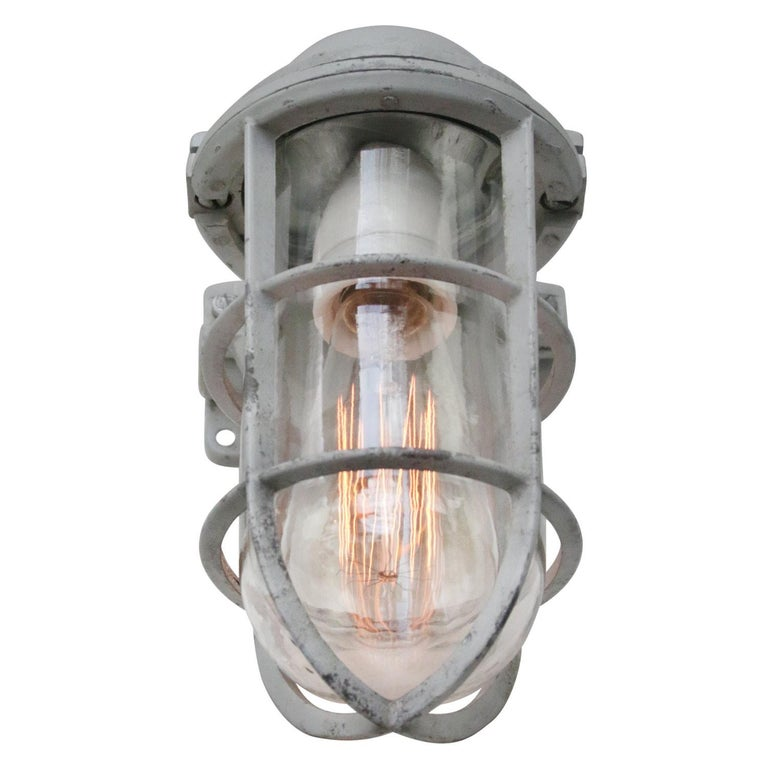 Dutch Gray Vintage Industrial Clear Glass Wall Lamp Scones For Sale