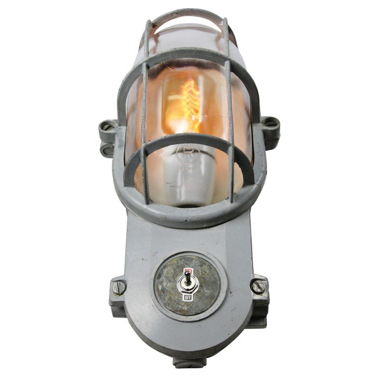 Cast Gray Vintage Industrial Clear Glass Wall Lamp Scones For Sale