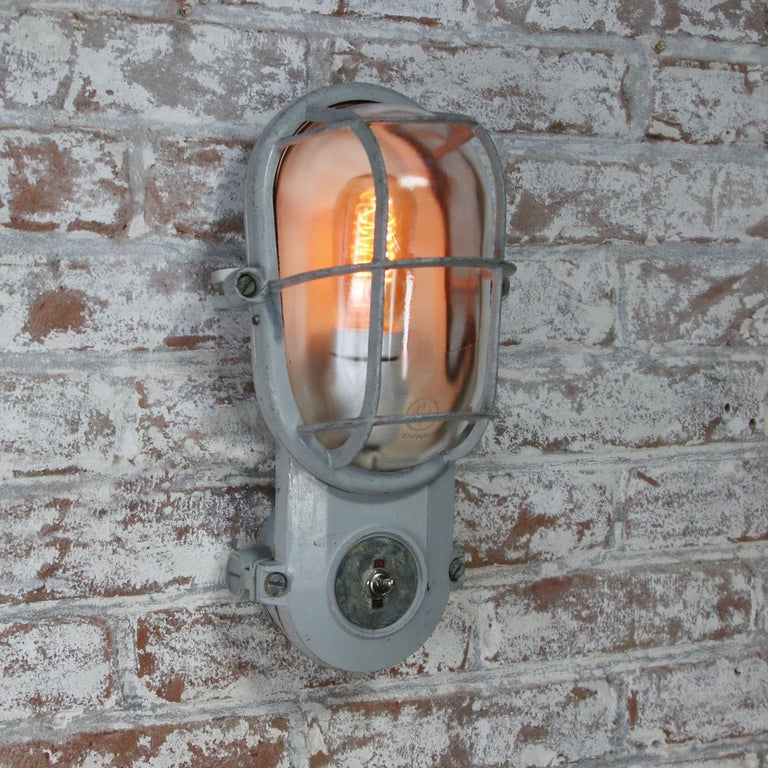20th Century Gray Vintage Industrial Clear Glass Wall Lamp Scones For Sale