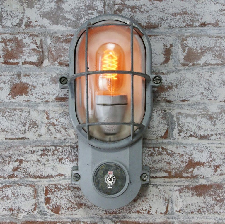 Gray Vintage Industrial Clear Glass Wall Lamp Scones For Sale 2