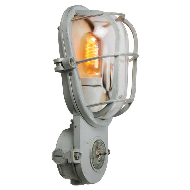 Gray Vintage Industrial Clear Glass Wall Lamp Scones For Sale