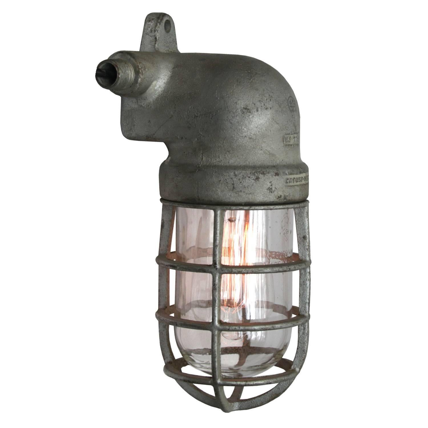 Gray Vintage Industrial Crouse Hinds Cage Clear Glass Wall Light