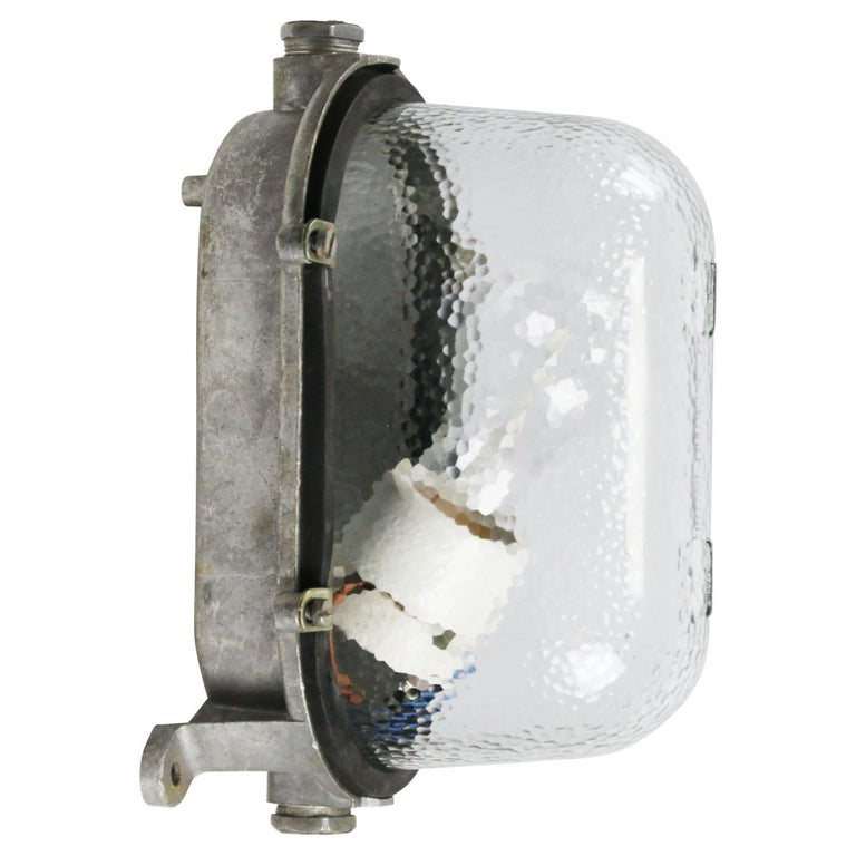 Industrial wall, scone or ceiling lamp Cast aluminum, frosted glass  Weight: 1.40 kg / 3.1 lb  Priced per individual item. All lamps have been made suitable by international standards for incandescent light bulbs, energy-efficient and LED