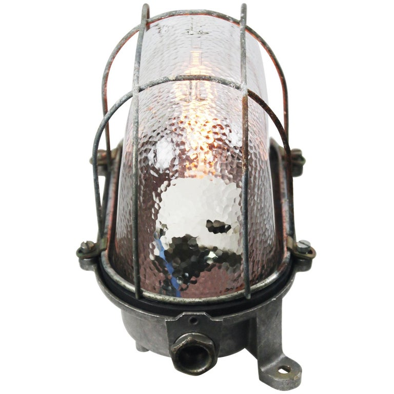 German Gray Vintage Industrial Frosted Glass Wall Lamps Scones For Sale