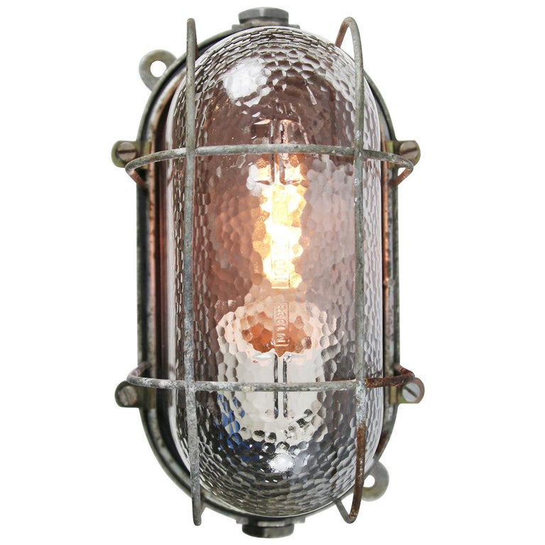 Cast Gray Vintage Industrial Frosted Glass Wall Lamps Scones For Sale