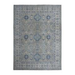 Gray Vintage Look Kazak Pure Wool Hand Knotted Oriental Rug
