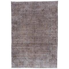 Gray Vintage Overdyed Handmade Wool Rug
