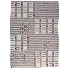 Gray Vintage Swedish Flat-Weave Rug