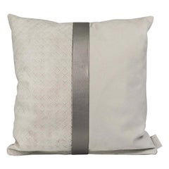 Gray Weave Nubuck Leather Pillow by Foglizzo, 1921