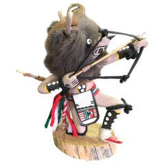 Gray Wolf Kachina Doll Hand Carved Signed by Artist