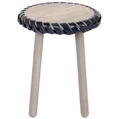 Gray Wood Stool / Table Braided with Navy Leather by Debra Folz