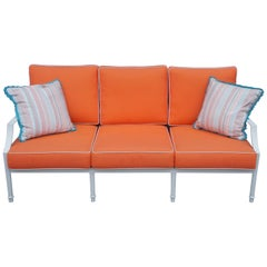 Grayson French Inspired Aluminum Sofa with Orange Cushions & Lattice Back 28070
