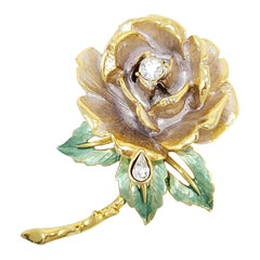 Graziano Princess Diana 1997 England Rose Brooch, Enamel, Gold-Plated