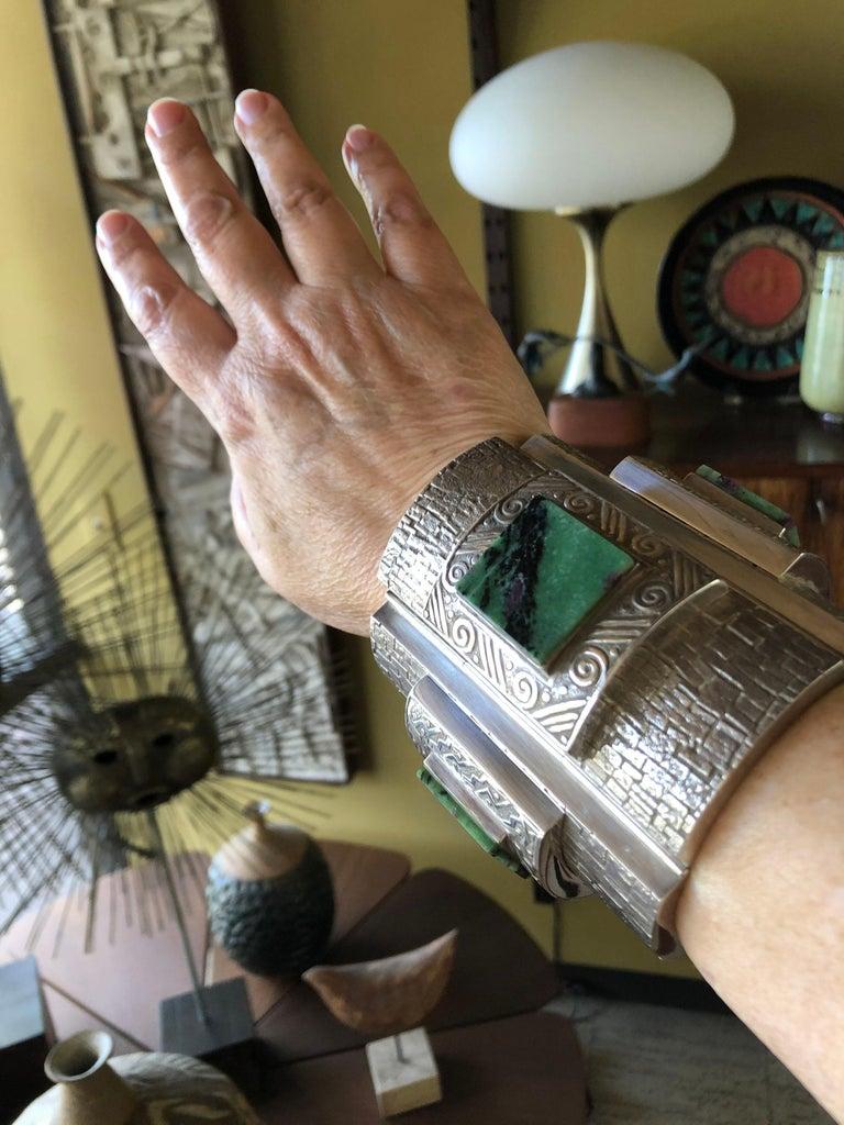 Graziella Laffi Peruvian Modernist Sterling Silver Green Malachite Cuff Bracelet For Sale 5