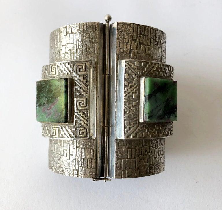Square Cut Graziella Laffi Peruvian Modernist Sterling Silver Green Malachite Cuff Bracelet For Sale