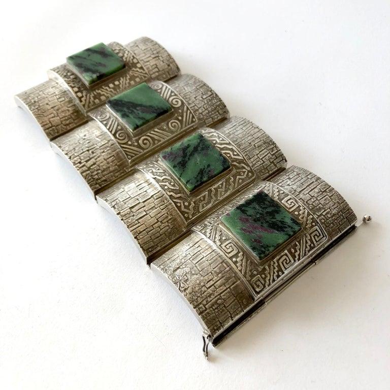 Graziella Laffi Peruvian Modernist Sterling Silver Green Malachite Cuff Bracelet In Good Condition For Sale In Los Angeles, CA