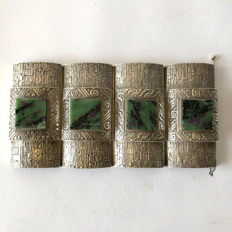 Women's Graziella Laffi Peruvian Modernist Sterling Silver Green Malachite Cuff Bracelet For Sale
