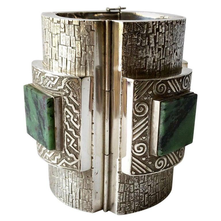 Graziella Laffi Peruvian Modernist Sterling Silver Green Malachite Cuff Bracelet For Sale