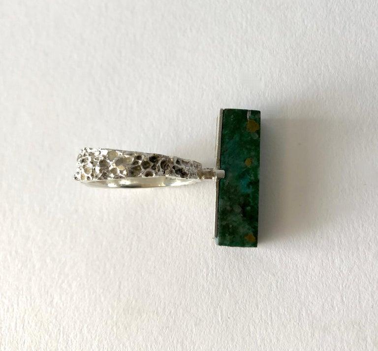 Artisan Graziella Laffi Sterling Silver Malachite Peruvian Modernist Handmade Ring For Sale