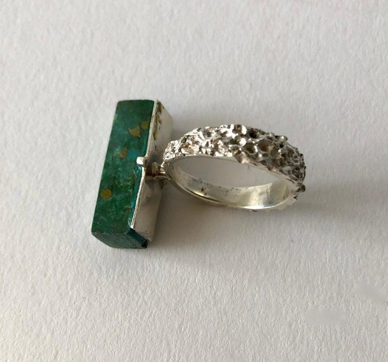 Emerald Cut Graziella Laffi Sterling Silver Malachite Peruvian Modernist Handmade Ring For Sale