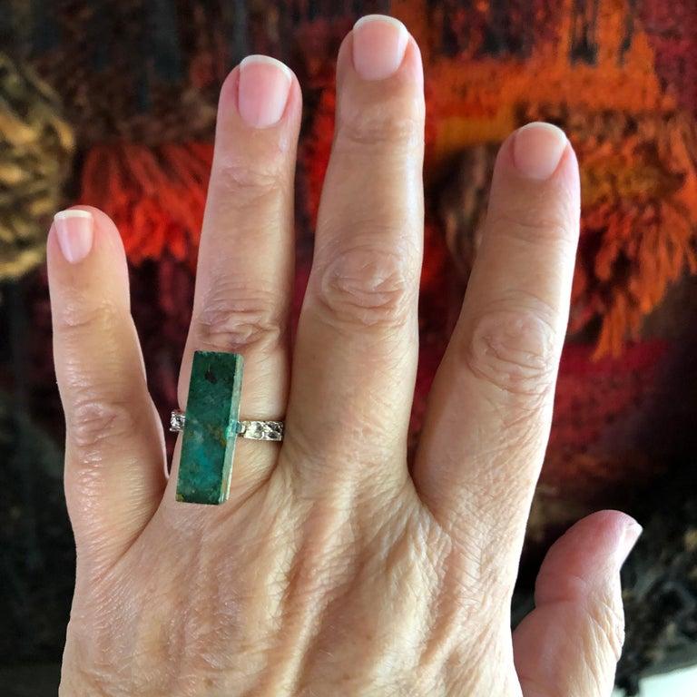 Women's Graziella Laffi Sterling Silver Malachite Peruvian Modernist Handmade Ring For Sale