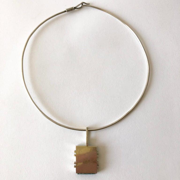 Emerald Cut Graziella Laffi Sterling Silver Malachite Peruvian Modernist Pendant Necklace For Sale