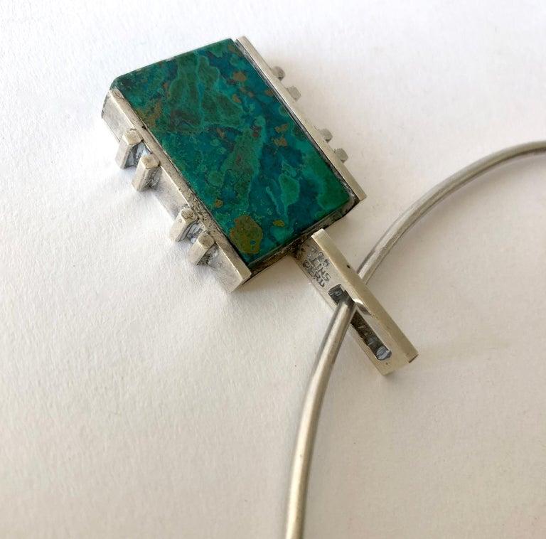 Women's Graziella Laffi Sterling Silver Malachite Peruvian Modernist Pendant Necklace For Sale