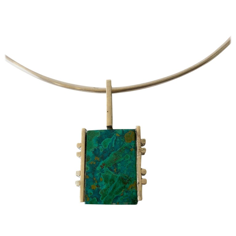 Graziella Laffi Sterling Silver Malachite Peruvian Modernist Pendant Necklace For Sale