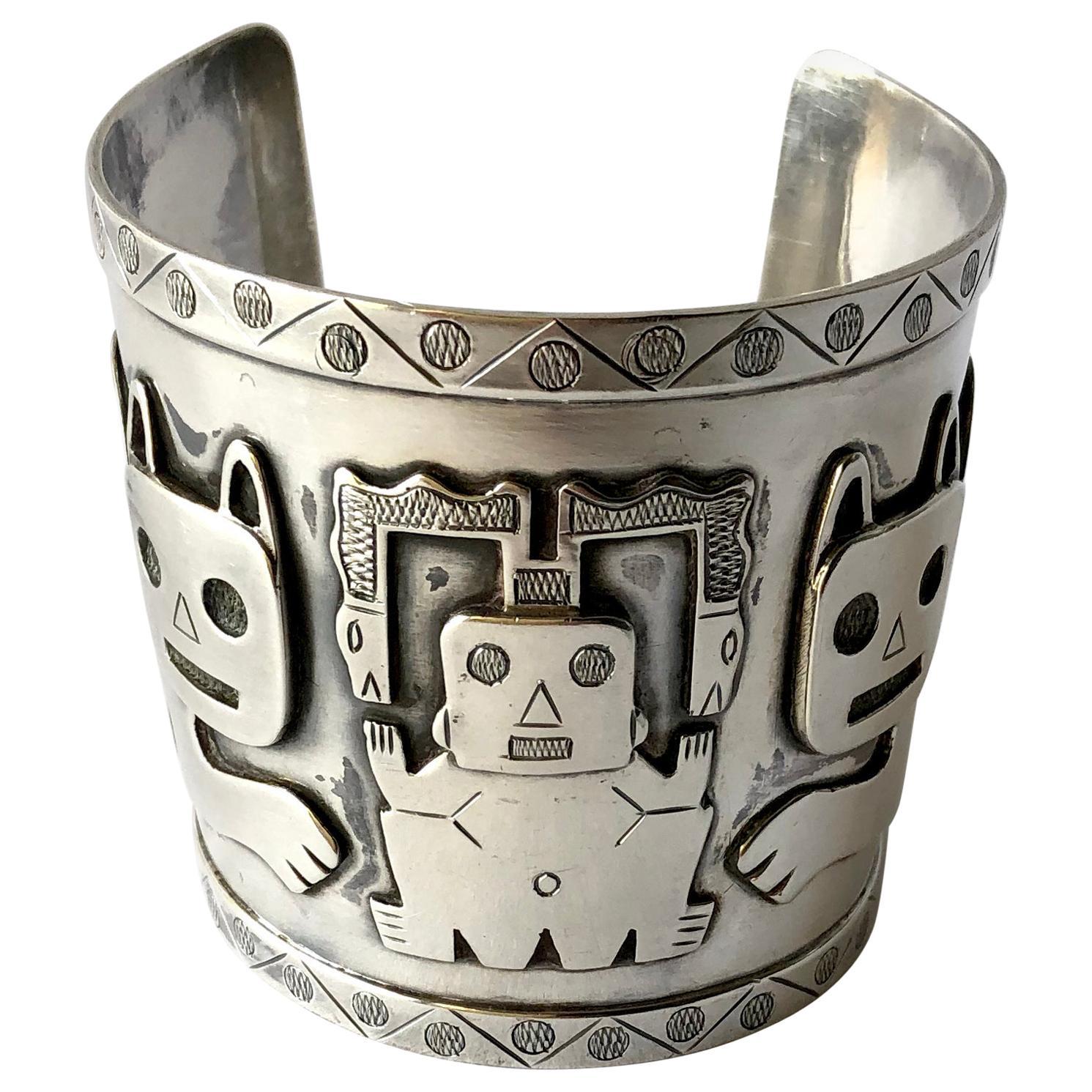 Graziella Laffi Sterling Silver Peruvian Aztec Modernist Cat Cuff Bracelet