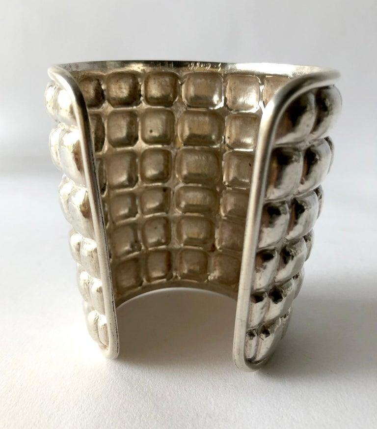 Artisan Graziella Laffi Sterling Silver Peruvian Modern Repousse Handmade Cuff Bracelet For Sale