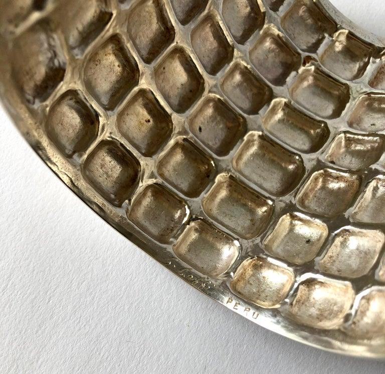 Graziella Laffi Sterling Silver Peruvian Modern Repousse Handmade Cuff Bracelet In Good Condition For Sale In Los Angeles, CA