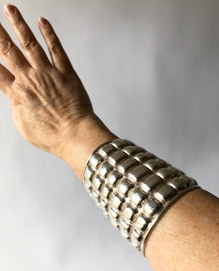 Women's or Men's Graziella Laffi Sterling Silver Peruvian Modern Repousse Handmade Cuff Bracelet For Sale