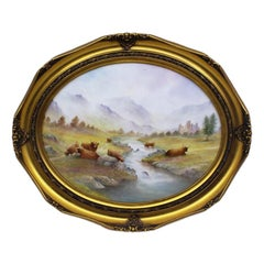 Grazing Highland Cattle Oval Porcelain Plaque by M.Powell
