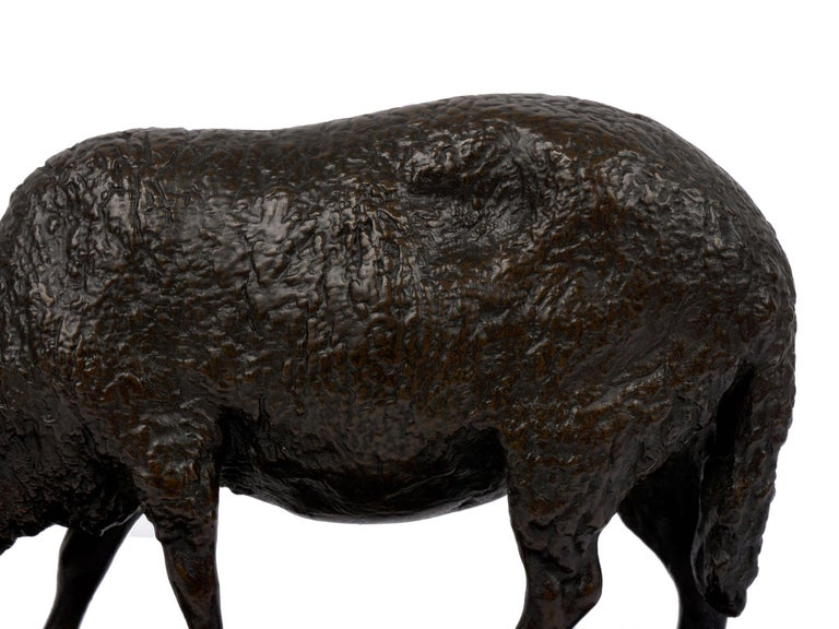 """""""Grazing Ram"""" French Antique Bronze Sculpture by Rosa Bonheur, Cast by Peyrol For Sale 7"""
