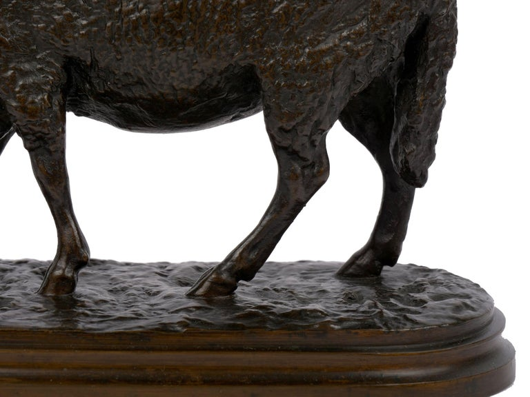 """""""Grazing Ram"""" French Antique Bronze Sculpture by Rosa Bonheur, Cast by Peyrol For Sale 8"""