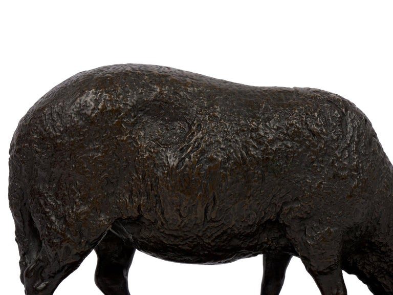 """""""Grazing Ram"""" French Antique Bronze Sculpture by Rosa Bonheur, Cast by Peyrol For Sale 4"""
