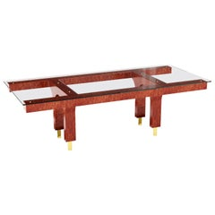 Bubinga Wood Dining Table With Glass Top And Brass Legs