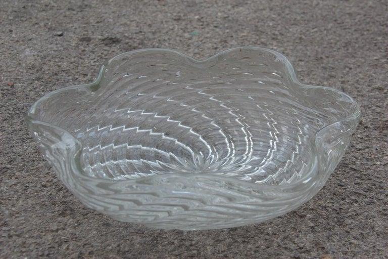 Great Bowl Seguso Flavio Poli Italian Design Cristallo Incrociato Transparent In Good Condition For Sale In Palermo, Sicily