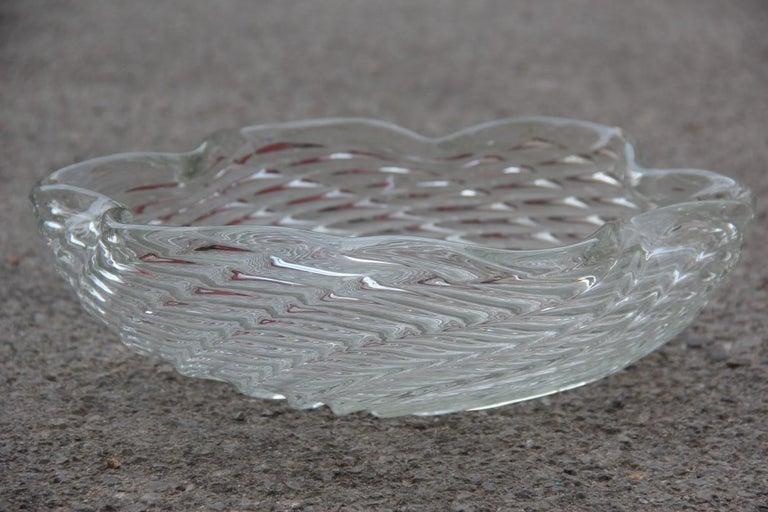 Mid-20th Century Great Bowl Seguso Flavio Poli Italian Design Cristallo Incrociato Transparent For Sale