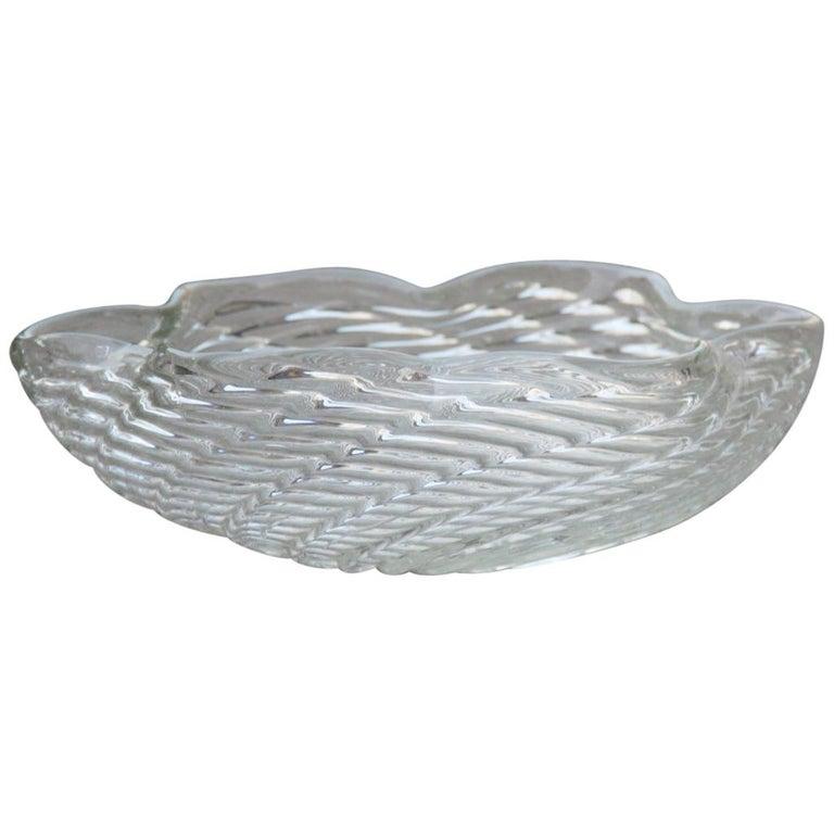 Great Bowl Seguso Flavio Poli Italian Design Cristallo Incrociato Transparent For Sale