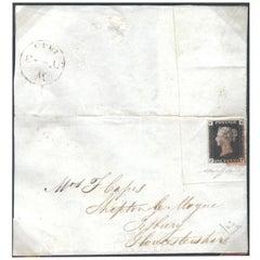 Great Britain 1840 1d Black (V.R. Official), Cover SGV1 Antique Postage Stamp