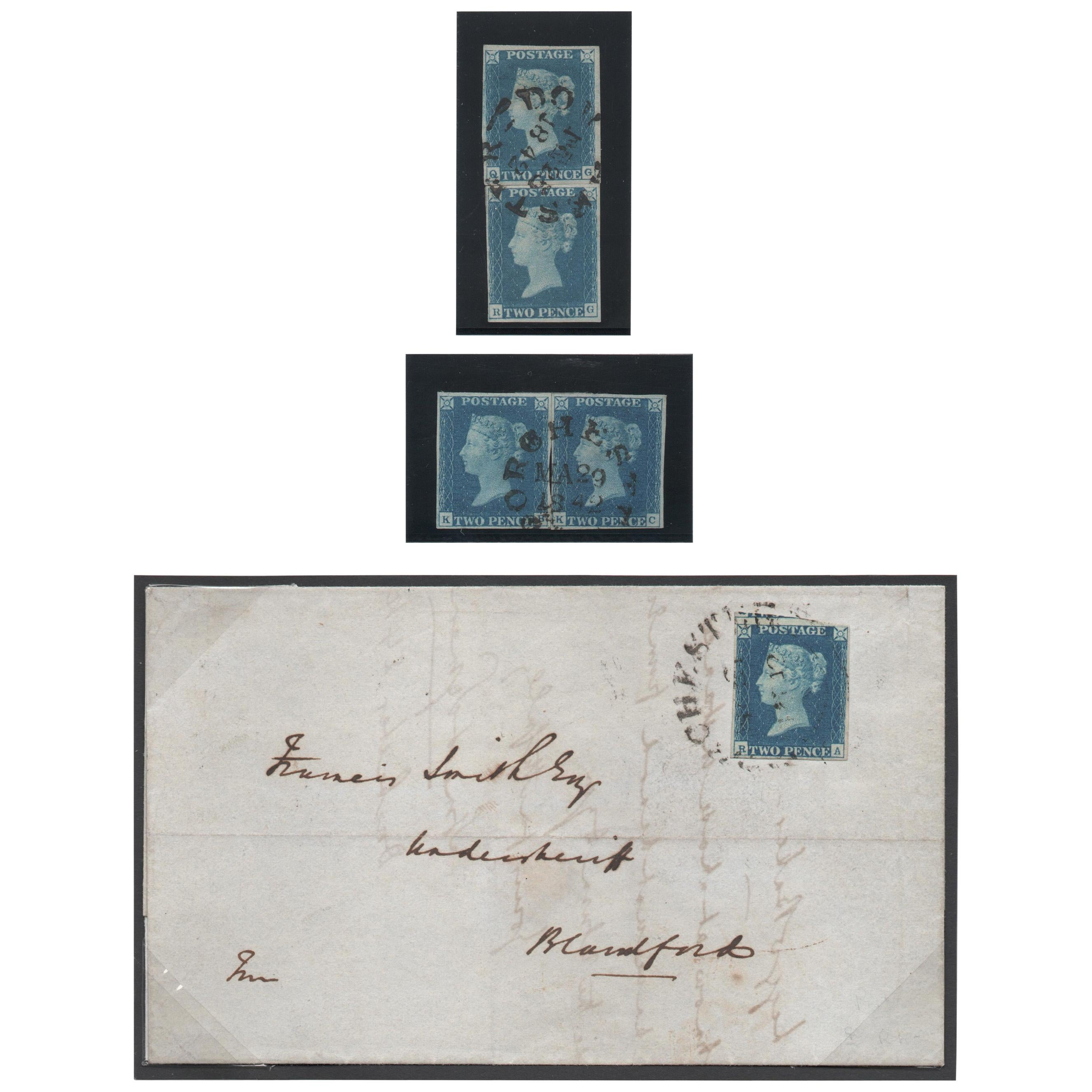 Great Britain 1840 2d. Blue from Plate 2, Used SG5 Antique Postage Stamp