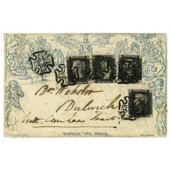 Great Britain 1840 2d Mulready Envelope SGME4,2 Antique Postage Stamps