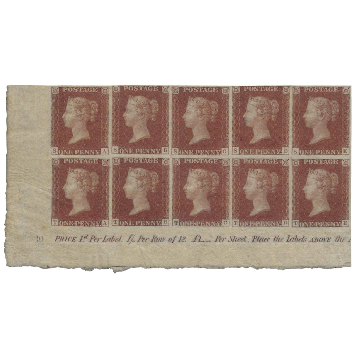 Great Britain 1841 1d Red Brown Plate 10, SG7 PL10 Antique Postage Stamps