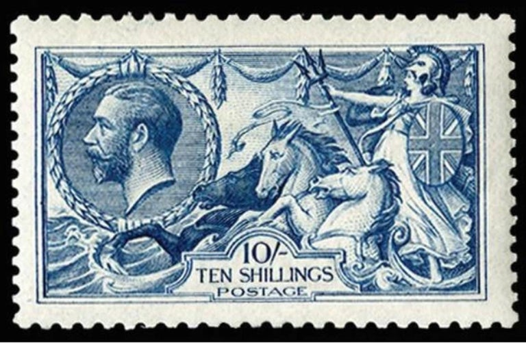Great Britain SG411 1915 10s deep blue postage stamp. A very fine, unmounted original gum, example of the rarest deep blue shade, printed by De La Rue. Full perforations and superb centring. Specialised catalogue number N70(2). The Stanley Gibbons